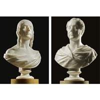 bust of a lady (+ bust of a gentleman, taller; pair) by john hogan