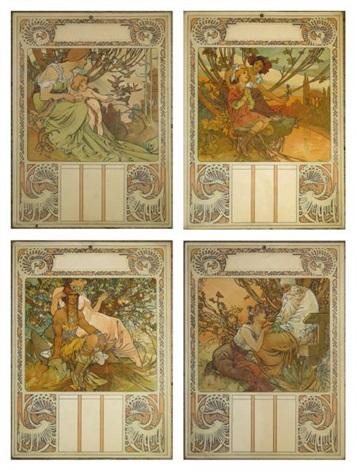 las ages de la vie calendrier set of 4 by alphonse mucha