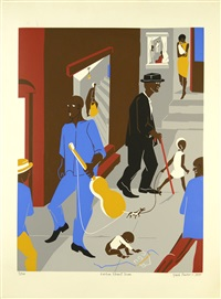 people in other rooms (harlem street scene) by jacob lawrence