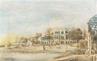 a mansion, madras, with pergola, seen from the garden side by justinian gantz
