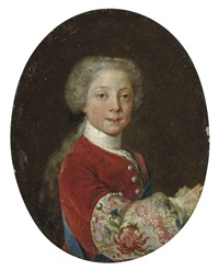 portrait of prince henry benedict stuart as a boy in a red velvet coat with elaborately embroidered sleeve with thistle motif, with the sash of the order... by antonio david