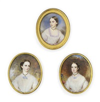 dora, in décolleté white dress with gauze fichu, mauve ribbon tied at neck (+ 2 others (spencer smith family in woodland landscapes); set of 3) by reginald easton