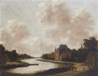 a river landscape with a villa on an embankment, travellers and fishermen outside cottages nearby by jan meerhout