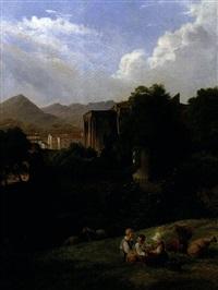 jeunes berbers dans un paysage de ruines médiévales by charles caius renoux