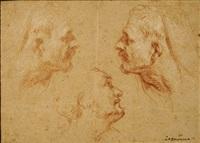 trois études de tête, dont l'une est une contre épreuve de la figure de droite by françois lemoyne