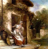 an english doorway - outside the cottage door by george henry andrews