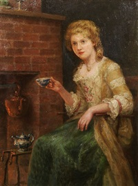 woman at tea by jennie augusta brownscombe