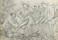 fisherman, glenbury (+ st. finans bay, county kerry, oil on board; pair) by marshall c. hutson