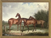 three hunters in an extensive landscape by henry calvert