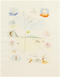 the twelve tribes of israel (suite of 13 in blue portfolio with colophon, title and introduction by abba eban; text in english and hebrew) by salvador dalí