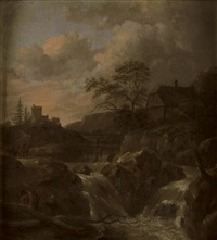 a torrent in a scandinavian landscape, a house beyond by salomon rombouts