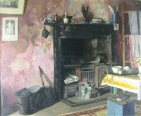 interior with a fireplace by arthur couling