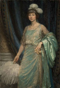 portrait of mrs norman holbrook in a turquoise dress and a white fan by frank dicksee