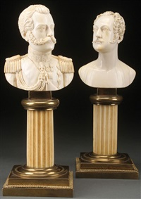 busts of emperor alexander ii & nicholas i (pair) by yakov seriakov