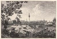 panorama d'une ville baignée par une rivière by canaletto