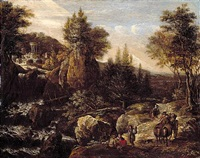 a rocky river landscape with travellers, a classical temple beyond by gerrit (gerard) battem