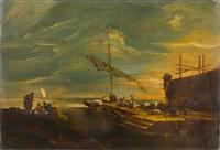 lagunencapriccio mit kleinem hafen (veduta lagunare di fantasia con porticciolo) by francesco guardi