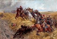 la charge du maréchal ney à la bataille de waterloo, 1815 by lucien pierre sergent