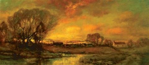 sunset over a farm by charles p appel