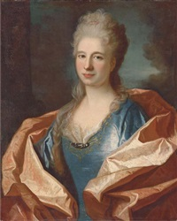 portrait of a lady, bust-length, in a blue silk dress trimmed with lace and embroidered with gold thread and with a pink silk shawl, a landscape beyond by jean ranc