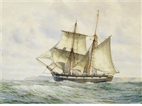 sail ship in full sale off the coast by mark richard myers