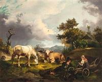 bauernpaar bei der rast mit pferd und kühen auf der bergweide by joseph heicke