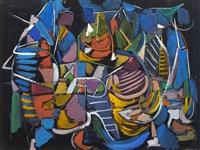composition abstraite sur fond noir by andré lanskoy