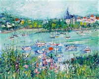 boats moored in a harbour by yolande ardissone