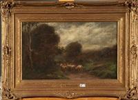 berger et son troupeau sur un chemin de campagne by hippolyte emmanuel boulenger
