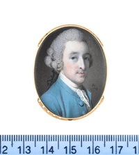 a gentleman, called mr tucker, wearing cerulean blue coat, white stock and lace cravat, his powdered wig worn en queue and tied with a black ribbon bow by samuel cotes