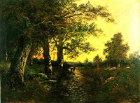 chemin forestier au soleil couchant by paul astier