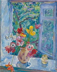 blumenstrauß am fenster by eugenia antipova