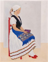 seated young woman in traditional hungarian dress by vilmos huszar