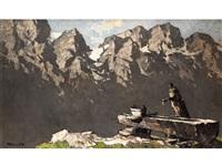 hölzerner brunnen mit trog vor dem panorama der hochalpenkette by oskar mulley