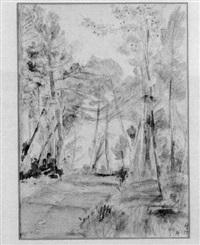 landschaft mit bäumen by axel leskoschek