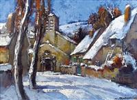 petite eglise sous la neige by robert falcucci