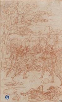 le combat d'hector et ajax interrompu par deux héraults (study) by bernard picart