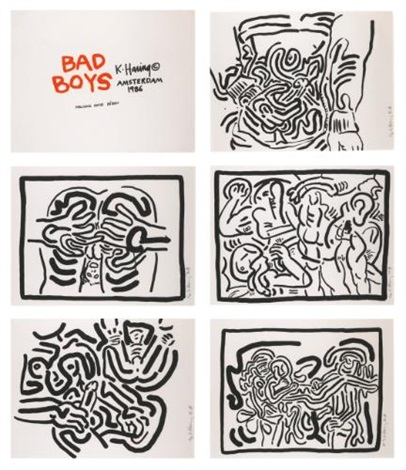 bad boys set of 6 by keith haring