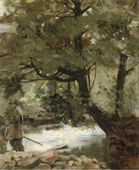 an angler beside a wooded stream by blandford fletcher