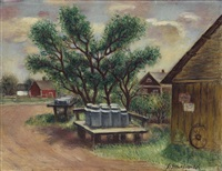 farm landscape (milk cans #2) by simkha simkhovitch