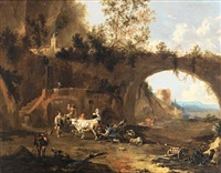 peasants and livestock before a rustic dwelling in the roman campagna, a ruined arch and tower beyond by johannes van der bent