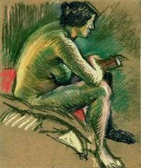 sitzender weiblicher akt mit buch by charles felix appenzeller