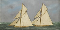 america's cup, columbia leading shamrock by thomas h. willis
