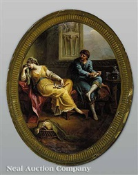 virgil reading the aeneid to augustus and octavia (+ a classical scene with a young man and young woman mourning the death of a songbird; pair) by antonio zucchi
