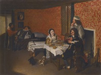 interior of a house with a woman and two men eating at a table, a sleeping man beside a bed being woken by a maid beyond by wolfgang heimbach