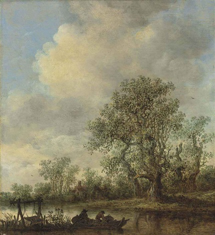 a river landscape with fishermen in a rowing boat a cottage beyond by jan josefsz van goyen