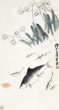 鱼乐图 (fish) by qi baishi