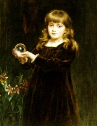 portrait of a young girl with a crystal ball by mary lemon waller