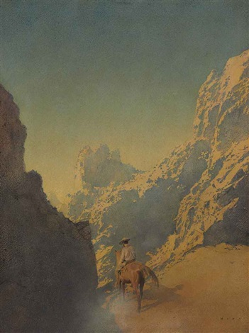 the rawhide part three he swung himself into the saddle and rode away by maxfield parrish