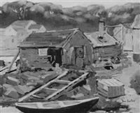 dingy and fishing shacks by donald blagge barton